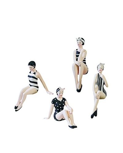 Set of 4 Mini Beach Beauties in Black and White Design Swimsuits