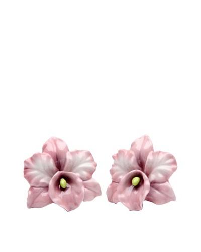 Porcelain Pink Orchid Salt & Pepper Shaker Set