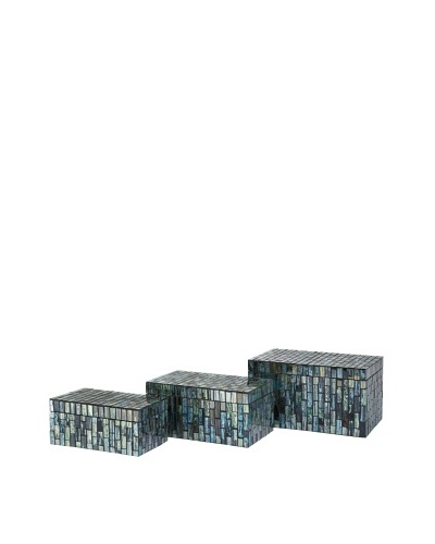Set Of 3 Aramis Mosaic Boxes, Black/Blue