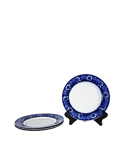 Set of 4 Flow Blue Turin By JB Salad Plates, Blue/White