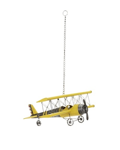 Suspended Vintage-Inspired Model Airplane with Metal Frame