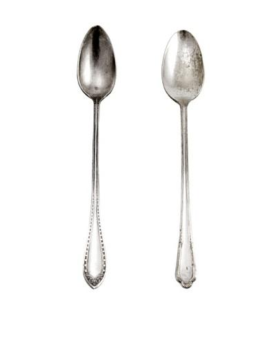 Set of 2 Vintage Cunningham Silver Plated Laurel Style Teaspoons, c.1930s