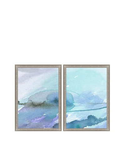 Blue Watercolor Abstract Diptych Framed Giclée Print