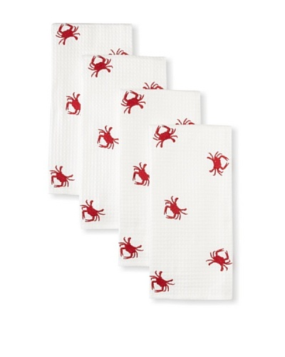 Set of 4 Crab Kitchen Towels, White, 18 x 27