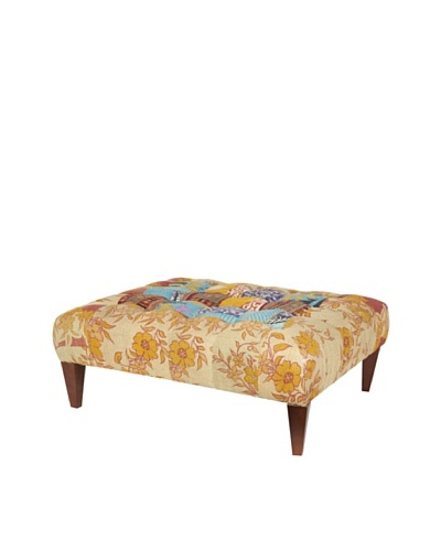 One of a Kind Kantha Square Bench, Amber Multi