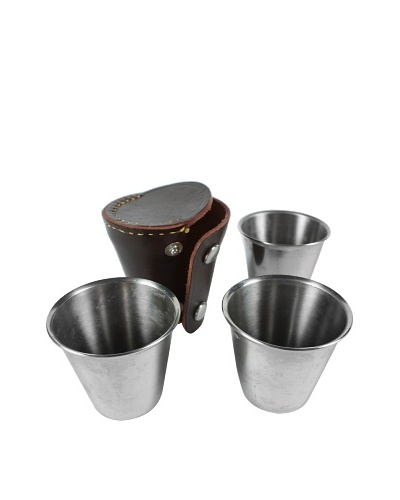Set of 3 Stacking Stirrup Cups with Leather Case