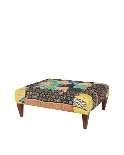 One of a Kind Kantha Square Bench, Black Multi