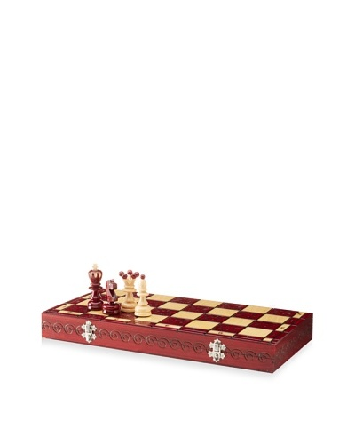 Wood Burned Chess Set, Red