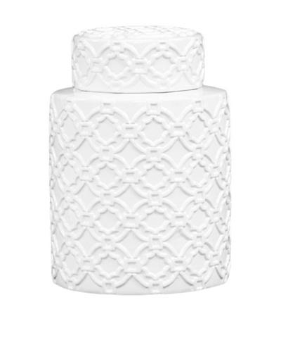 Cylinder Ceramic Jar, White