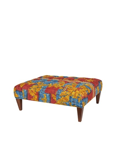 One of a Kind Kantha Square Bench, Red Multi