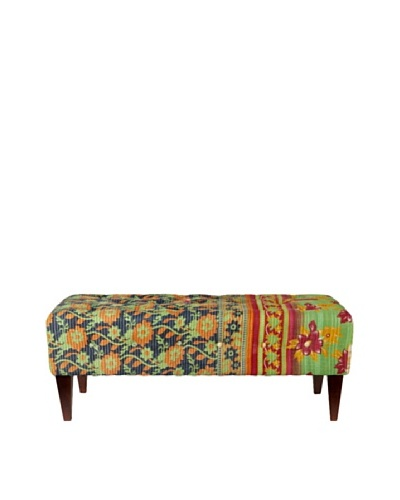 One of a Kind Kantha Tufted Bench, Green/Black Multi