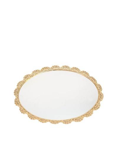 Vintage Brass Floral Mirrored Vanity Tray, Brass/Glass, c1940s