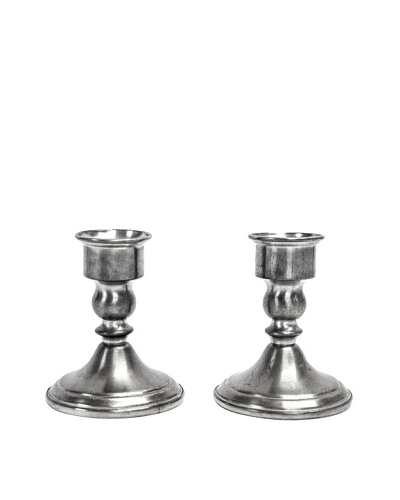 Vintage Sterling Silver Short Candlestick Holders, c.1940s
