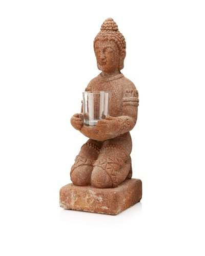 Chandara Sitting Buddha Tealight Holder, Sandstone
