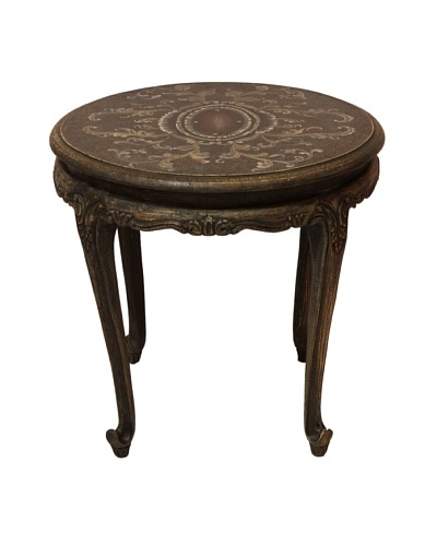 Livia Round Accent Table, Grey/Smoke