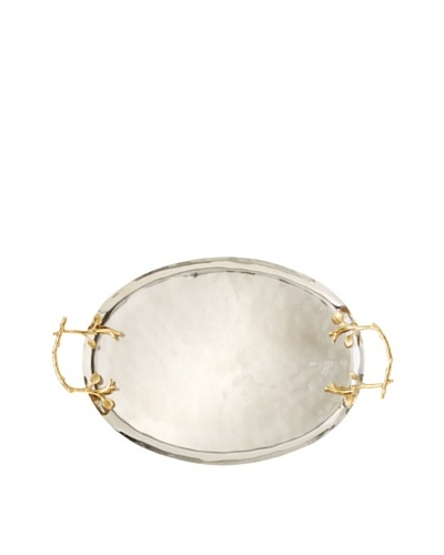 Oval Tray with Gold Grape Leaf Handles, Silver/Gold