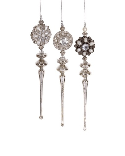 Set of 3 Gem Finial Ornaments