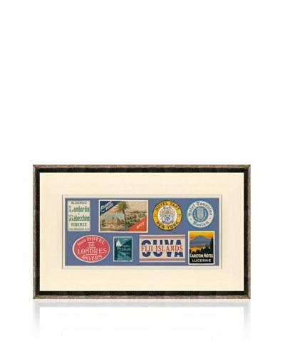Vintage Luggage Labels - USA, Italy, Belgium, Switzerland, Fiji, Italy