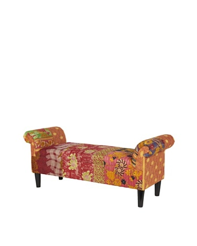 One of a Kind Kantha Roll Arm Bench, MultiAs You See