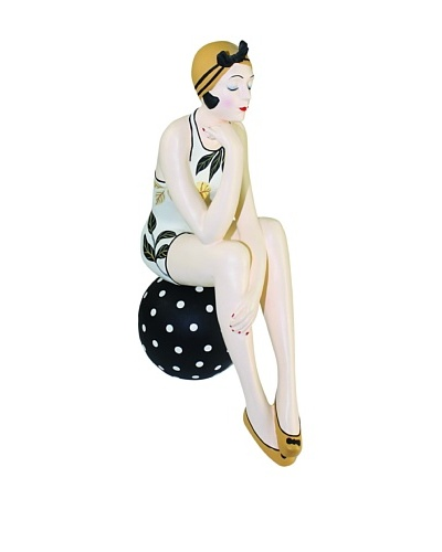 Large Resin Beach Beauty in Floral Swimsuit on Black Polka Dot Ball with Gold Hat
