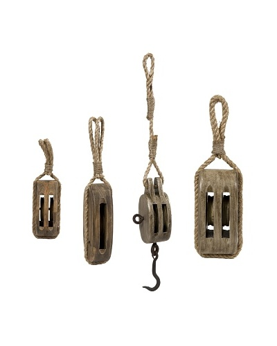Set of 4 Nautical Wooden Pulleys