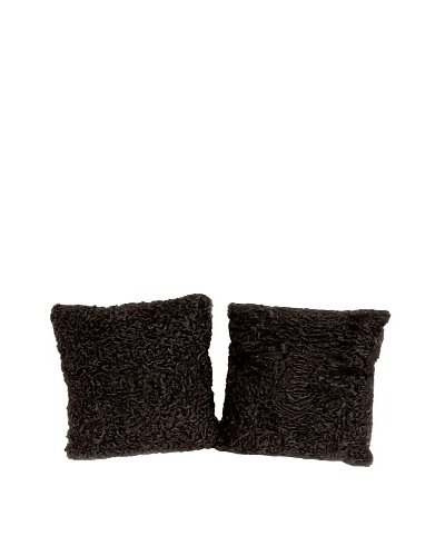 Pair of Upcycled Lambswool Pillows, Black, 14 x 14