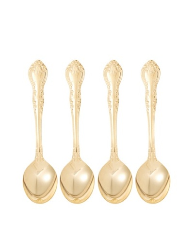 Set of 4 Gold Plated Traditional Demitasse Spoons