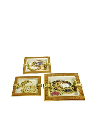 Set of 3 Lily Pad Square Ash Trays with Brass Embellishment