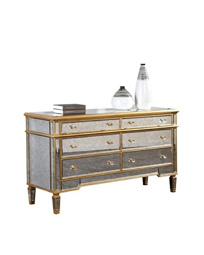 Florentine 6-Drawer Dresser, Gold Leaf/Antique Mirror
