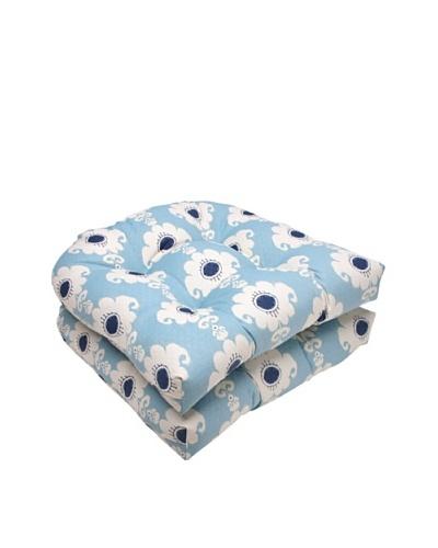 Waverly Sun-n-Shade Set of 2 Rise and Shine Pool Wicker Seat Cushion [Navy/Aqua/Cream]