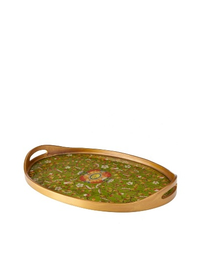 Reverse-Painted Glass Oval Tray, Verdigris