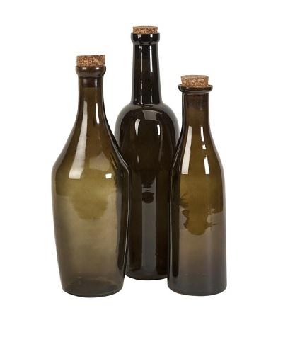 Set of 3 Euro Wine Bottles