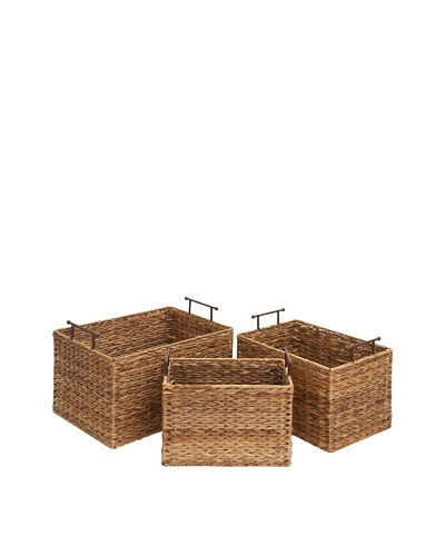 Set of 3 Wicker Baskets, Brown