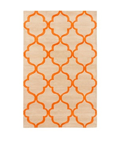 Handmade Trellis Rug, Beige/Orange, 5' x 8'