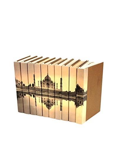 Set of 10 Image Collection Taj Mahal Books, Cream/Brown