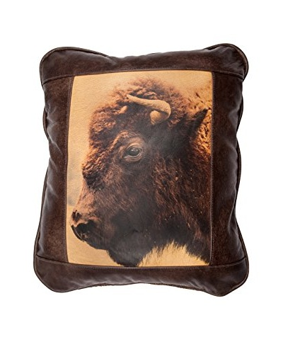 Buffalo Head Leather Pillow, Chocolate