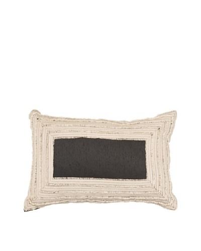 African Edge Pillow, Linen/Black, 14 x 21