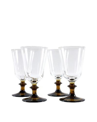 Set of 4 Cordial Glasses, Brown/Clear