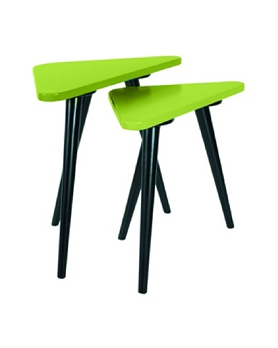 Large Teapoy Grey Table with Shiny Black legs, Green