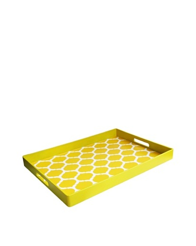 Garden Lattice Rectangle Tray with Handles, Yellow
