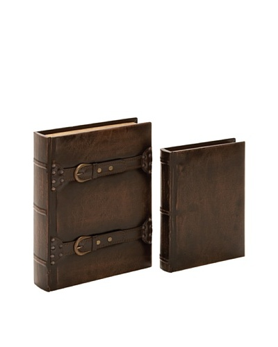 Set of 2 Decorative Wood Books