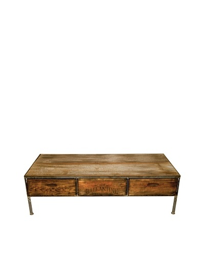 Stockton Three-Drawer Repurposed Crate Coffee Table with Barnwood Top