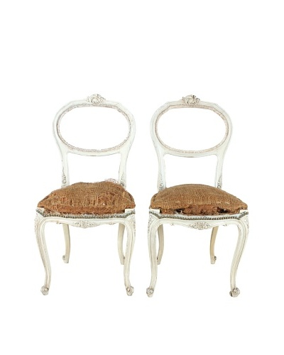 Pair of French Deconstructed Walnut Chairs, Brown