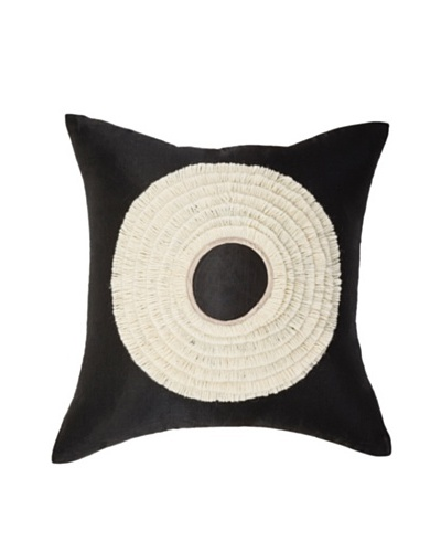 """African Headdress Pillow, Black/White, 18"""" x 18""""As You See"""