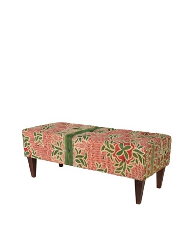 One of a Kind Kantha Tufted Bench, Red/Green Multi