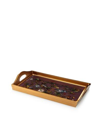 Reverse-Painted Glass Rectangular Tray, Plum
