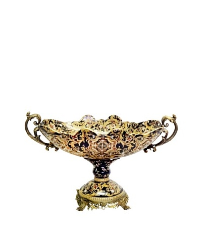 Black Tapestries Oval Footed Ormolu Bowl