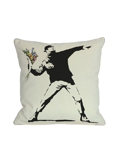 Banksy Rage Flowers Pillow