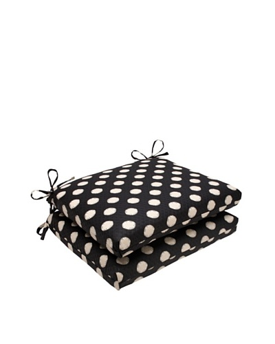 Waverly Sun-n-Shade Set of 2 Solar Spot Ebony Seat Cushions [Black/Cream]
