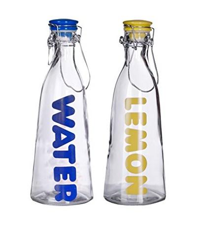 Set of 2 45-Oz. Water & Lemon Glass Bottles